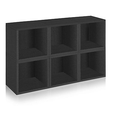 Way Basics Eco Stackable Modular Storage Cubes (Set of 6), Black