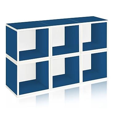 Way Basics Eco-Friendly 6 Stackable Modular Storage Cubes, Blue - Lifetime Warranty