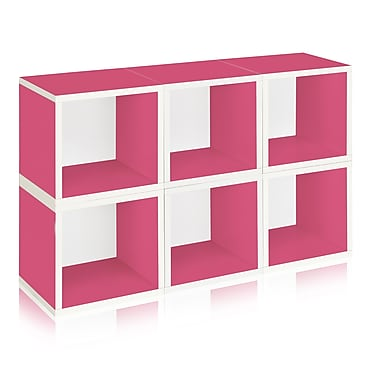 Way Basics Eco Stackable Modular Storage Cubes (Set of 6), Pink