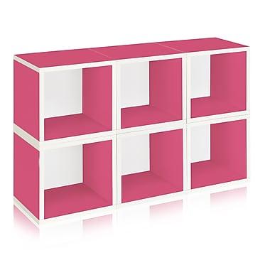 Way Basics Eco-Friendly 6 Stackable Modular Storage Cubes, Pink - Lifetime Warranty