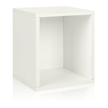 Way Basics Eco-Friendly Stackable Storage Cube Plus Organizer, White - Lifetime Warranty