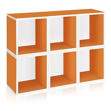 Way Basics Eco-Friendly 6 Stackable Modular Storage Cubes Plus, Orange - Lifetime Warranty