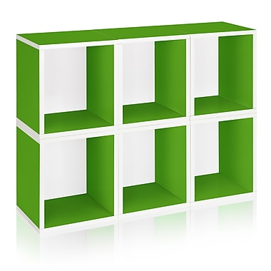 Way Basics Eco-Friendly 6 Stackable Modular Storage Cubes Plus, Green - Lifetime Warranty