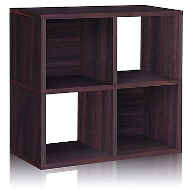 Way Basics Eco 4 Cubby Bookcase, Stackable Organizer and Storage Shelf, Espresso
