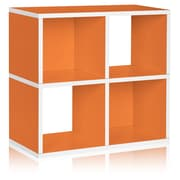 Way Basics Eco 4 Cubby Bookcase, Stackable Organizer and Storage Shelf, Orange