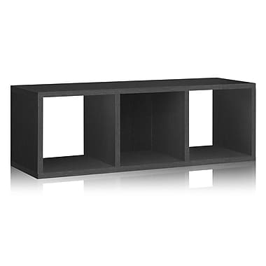 Way Basics Eco-Friendly 3 Cubby Stackable Storage Bench Organizer, Black Wood Grain - Lifetime Warranty