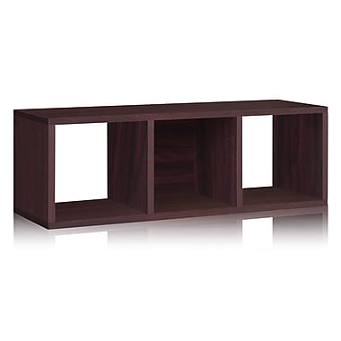 Way Basics Eco-Friendly 3 Cubby Stackable Storage Bench Organizer, Espresso Wood Grain - Lifetime Warranty