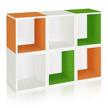 Way Basics Eco-Friendly 6 Stackable Modular Storage Cubes Plus, White Green Orange - Lifetime Warranty