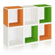 Way Basics Eco Stackable Modular Storage Cubes Plus (Set of 6), Green Orange White