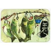 Caroline's Treasures Recession Food Fish Caught w/Spam Kitchen/Bath Mat; 20'' H x 30'' W x 0.25'' D