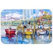 Caroline's Treasures Paradise Yacht Club Sailboats Kitchen/Bath Mat; 24'' H x 36'' W x 0.25'' D