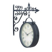 Woodland Imports Metal Outdoor Double Clock Very Useful Decor