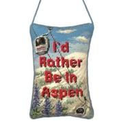 "123 Creations ""I'd Rather Be in Aspen"" Petit-Point Doorknob Hanger (CREATE792)"