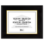 "Dax Document/Certificate Frame with Mat, 11"" x 14"", Black Hardwood, AZRDAX1511TB"