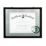 "Dax 11"" x 14"" Contemporary Wood Document/Certificate Frame, Silver Metal Mat, Black (AZRDAXN15788ST)"