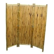 """Bamboo Fifty Four 3 Panel Screen with Small Round Sticks 63""""H x 60""""W (BMBOO154)"""