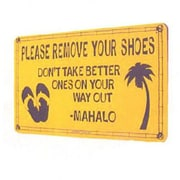 """Seaweed Surf Co Aluminum Sign Please Remove Your Shoes, 12"""" x 18"""" (SF50)"""