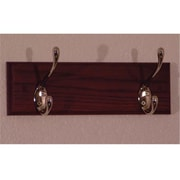 Wooden Mallet 2 Hook Coat Rack in Mahogany, Nickel (WDNM195)