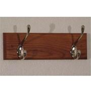Wooden Mallet 2 Hook Coat Rack in Medium Oak, Nickel (WDNM196)