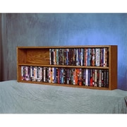 "Wood Shed Solid Oak Wall or Shelf Mount Book Cabinet for DVD and VHS Tapes, 52""W x 18""H x 7""D (WDSP081)"