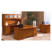 Lorell Bow Front Desk Right Pedestal, 72in x 34in x 29in, Honey Cherry