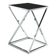 Convenience Concepts Boulevard Z End Table with Black Glass and Chrome Finish (RTL52464)