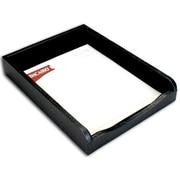 "Dacasso Front-Load Letter Tray, 11""L x 14.125""W x 2.875""H, Crocodile Embossed Top-Grain Leather, Black (DCSS033)"