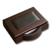 "Dacasso Memo Holder, 4"" x 6"", Wood and Leather (DCSS082)"