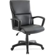 Lorell Euro Design Leather Executive Office Chair, Fixed Arms, Black (RTL156557)