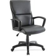 Lorell RTL156557 Euro Design Leather Executive Mid-Back Chair