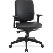 Lorell RTL156627 Adjustable-Arms Leather Executive Mid-Back Chair