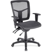 Lorell RTL156632 Mesh Mid-Back Swivel Chair, Adjustable Arms, Black