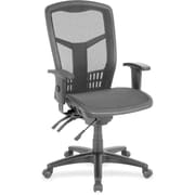 Lorell RTL156633 Mesh High-Back Chair, Adjustable Arms, Black