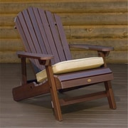 Highwood Synthetic Wood Folding and Reclining King-Size Adirondack Chair, Weathered Acorn, HGWD107