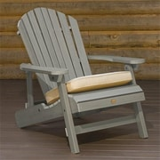 Highwood Folding/Reclining King-Size Adirondack Chair, Recycled Eco-Friendly Synthetic Wood, Coastal Teak (HGWD108)