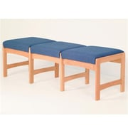 Wooden Mallet Three-Seat Bench in Medium Oak/Watercolor Rose (WDNM1141)