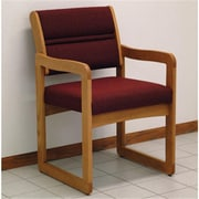 Wooden Mallet Valley Guest Chair in Medium Oak, Cabernet Burgundy (WDNM514)