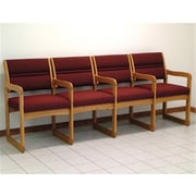 Wooden Mallet Valley Four-Seat Chair with Center Arms in Light Oak/Cabernet Burgundy (WDNM648)