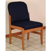Wooden Mallet Prairie Fabric Armless Guest Chair in Mahogany, Leaf Green, WDNM443