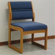 Wooden Mallet Valley Vinyl Fabric Armless Guest Chair in Light Oak, Blue (WDNM700)