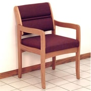 Wooden Mallet DW3-1MOCB Fabric Valley Guest Chair in Medium Oak, Cabernet Burgundy, WDNM898