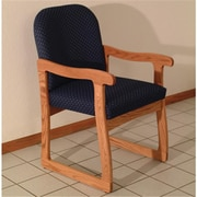 Wooden Mallet Prairie Fabric Guest Chair in Light Oak, Arch Blue, WDNM1244