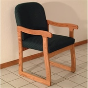 Wooden Mallet Prairie Guest Chair in Medium Oak, Arch Green, WDNM1285