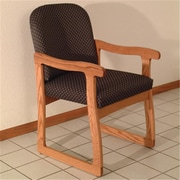 Wooden Mallet Prairie Fabric Guest Chair in Medium Oak, Arch Slate, WDNM1288