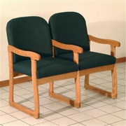 Wooden Mallet Prairie Two-Seat Chair with Center Arms in Mahogany/Leaf Blue (WDNM1330)