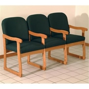 Wooden Mallet DW7-3MOAG Prairie Three Seat Chair with Center Arms in Medium Oak, Arch Green (WDNM1405)