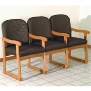 Wooden Mallet Prairie Three-Seat Chair with Center Arms in Medium Oak/Arch Slate (WDNM1408)