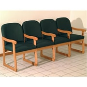 Wooden Mallet Prairie Four Seat Chair with Center Arms, Arch Green and Medium Oak WDNM1465