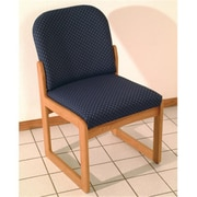 Wooden Mallet DW8,1MHLB Prairie Armless Guest Chair in Mahogany , Leaf Blue