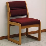 Wooden Mallet Valley Armless Guest Chair in Medium Oak/Cabernet Burgundy (WDNM706)